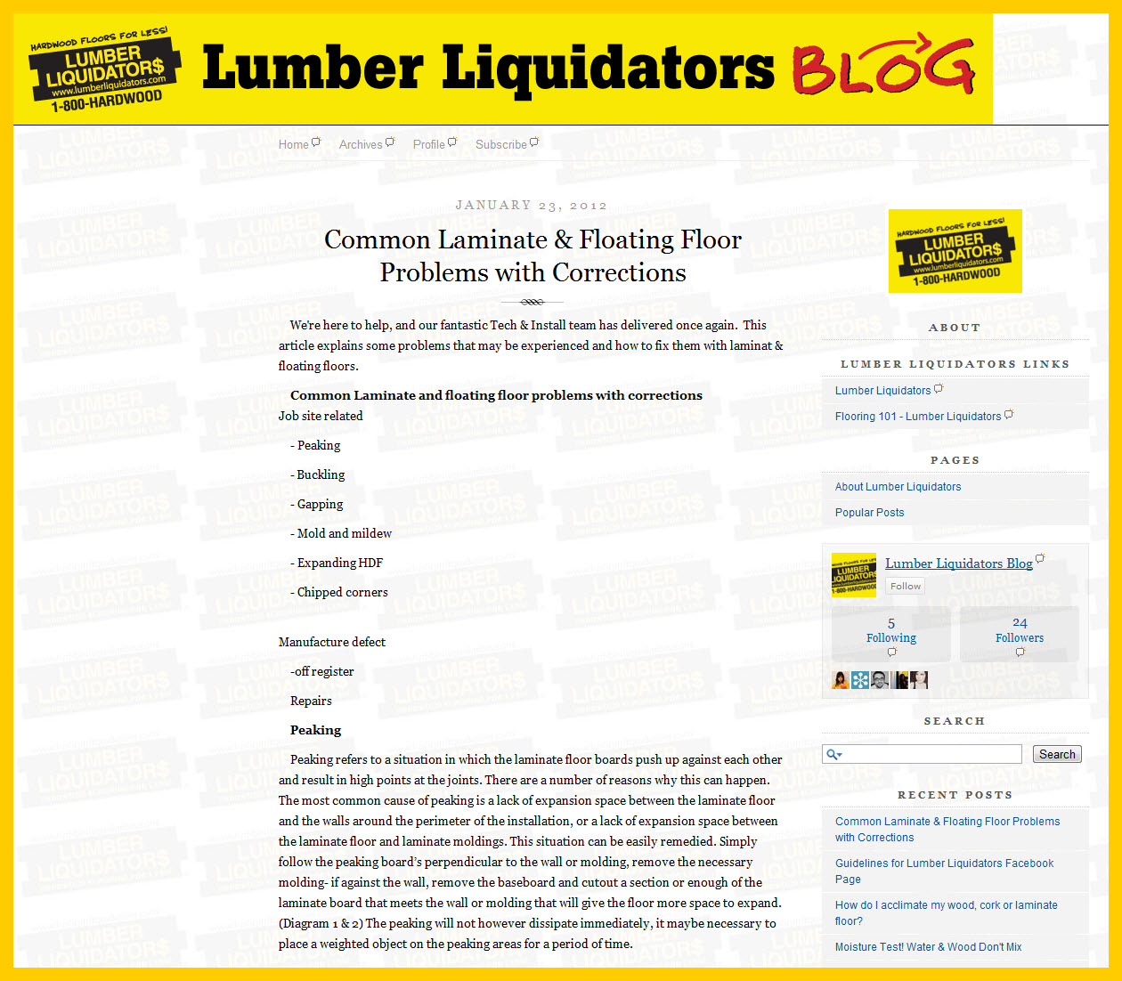 Social Flooring Index: Lumber Liquidators Blog