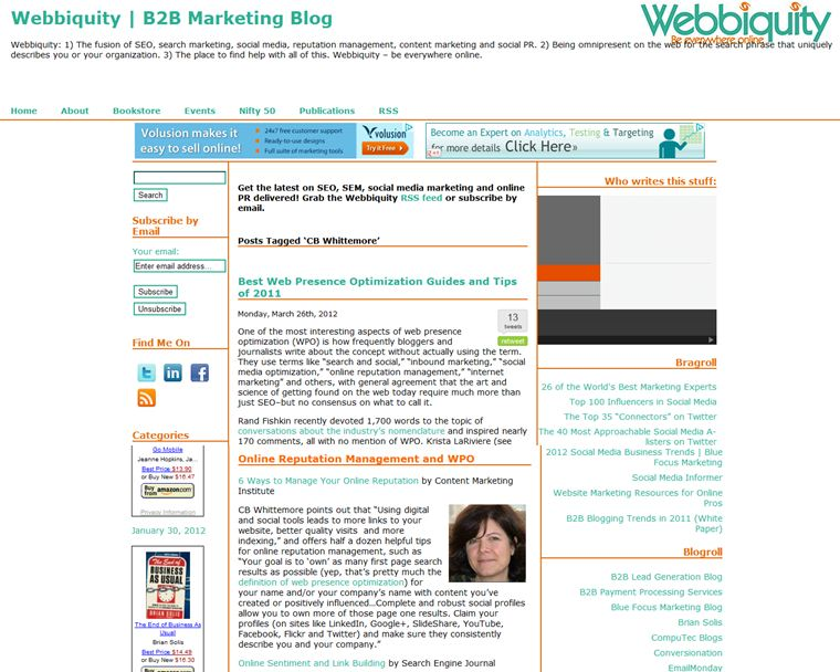 Search Engine Optimization tips, Webbiquity