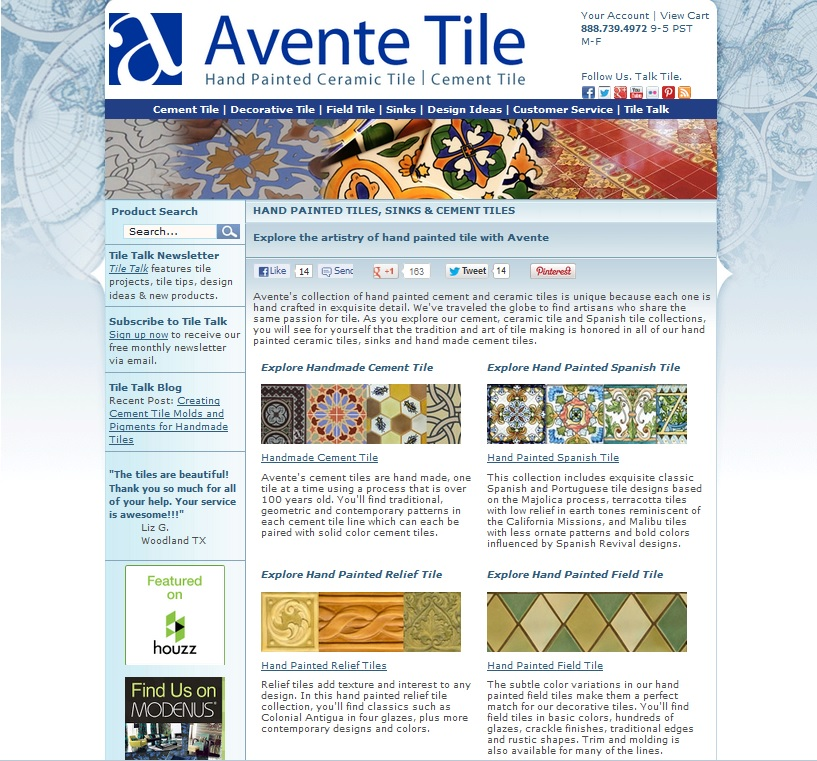 Avente Tile Home Page Screen Shot SMN Interview